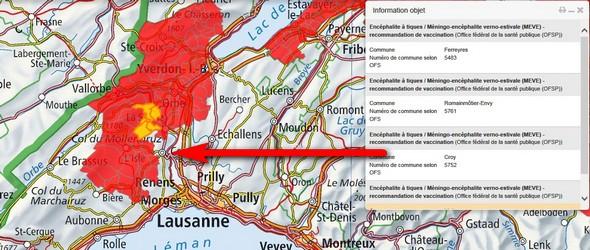 Tique du chien - Tiques chiens carte interactive des zones à risques qui est diffusée par l'Office fédéral de la santé publique (OFSP)