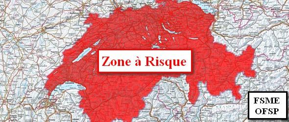 Tiques chiens carte interactive des zones à risques qui est diffusée par l'Office fédéral de la santé publique (OFSP)